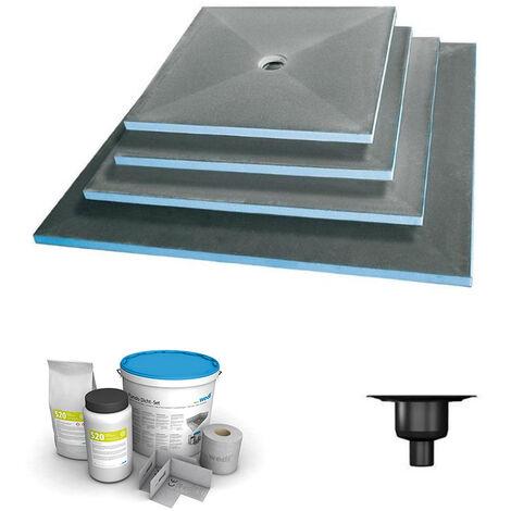 Wedi - Receveur écoulement centré Fundo primo + ecoulement grille carrée + kit d étancheité