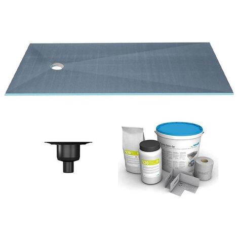 Wedi - Receveur écoulement centré sur la largeur Fundo primo + ecoulement grille carrée + kit d étancheité