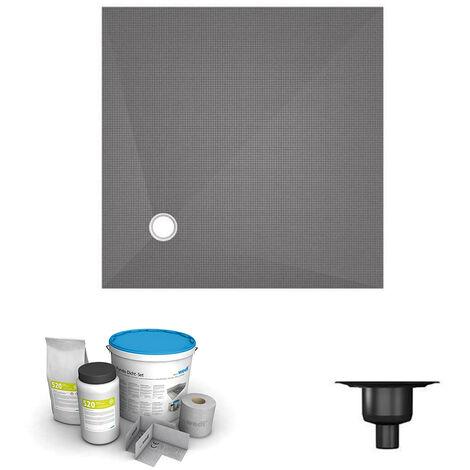 Wedi - Receveur écoulement excentré Fundo primo + ecoulement grille carrée + kit d étancheité, 100 x 100, ecoulement vertical
