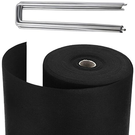 Yuzet 2m x 100m 100gsm Heavy Duty Weed Control Fabric with 40 Free Pegs