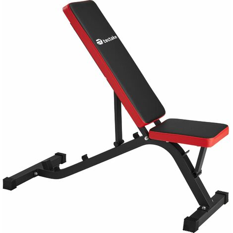 Weight bench - weights bench, gym bench, workout bench - black/red