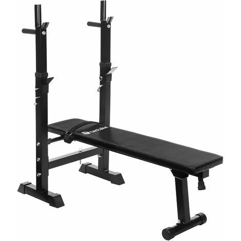 Weight bench with barbell rack - weights bench, gym bench, workout bench - black