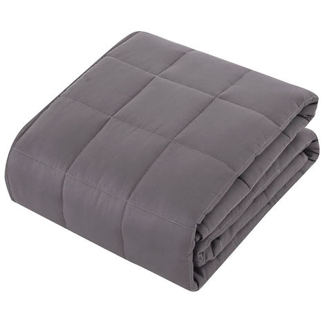 Weighted Blanket Plaid 100% Cotton Gray Hasaki