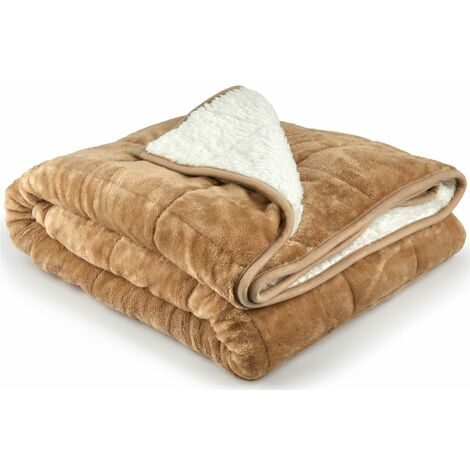 """main image of """"Weighted Blanket Sherpa 7KG For Anxiety, Stress Relief, Improved Sleep, Taupe"""""""