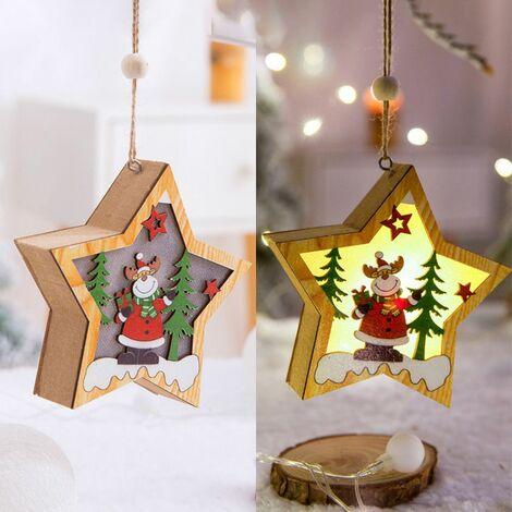 Weihnachtsdekoration LED Pendelleuchte Holz Anh?nger Weihnachtsbaum, Hirsche Stern f¨¹nf Zweige - Hirsch f¨¹nfzackigen Stern