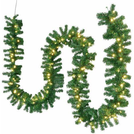 Weihnachtsgirlande 5m mit Beleuchtung – Lichterkette mit 100 LED warm-weiß strombetrieben - Indoor Tannengirlande künstlich – Weihnachtsdeko   Juskys