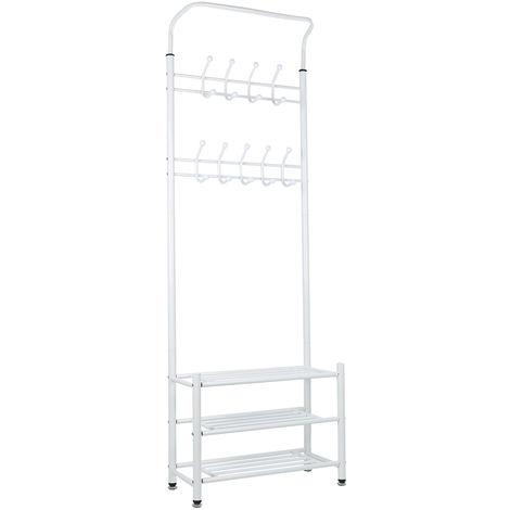 Weiß Garderobenständer Schuhregal Kleiderständer Kleiderstange Kleiderwagen Metall 185*65*30cm