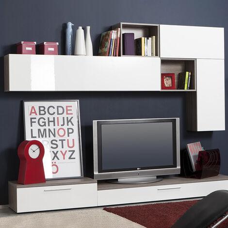 Weiß Lackiertes Wohnzimmer-Wandsystem Im Modernen Design Manhattan