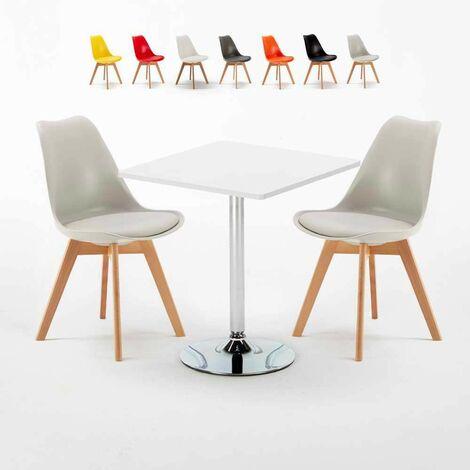 Weiß Quadratisch Tisch und 2 Stühle Farbiges Polypropylen-Innenmastenset NORDICA COCKTAIL