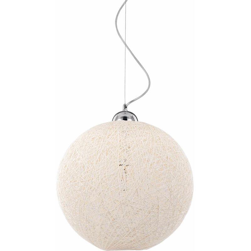 Weiße BASKET Pendelleuchte 1 Glühbirne Tiefe 9 cm