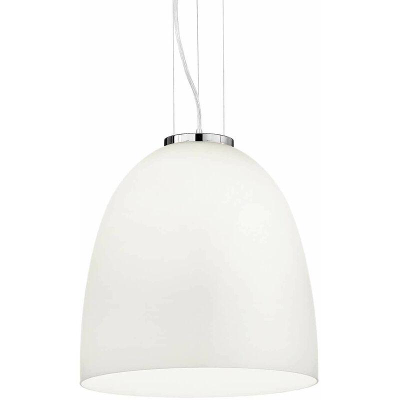 01-ideal Lux - Weiße EVA Pendelleuchte 1 Glühlampe Durchmesser 66 cm