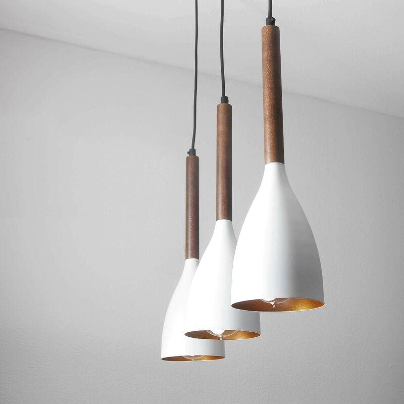 Licht-erlebnisse - Weiße Hängelampe im Retro Design mit Holz E27 Esstisch