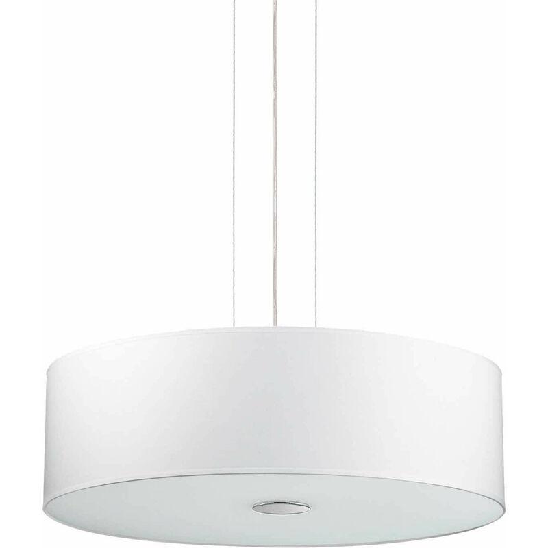 01-ideal Lux - Weiße HOLZ Pendelleuchte 4 Glühbirnen