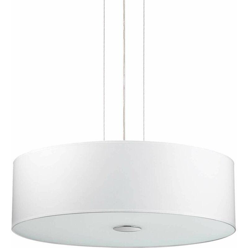 01-ideal Lux - Weiße HOLZ Pendelleuchte 5 Glühbirnen