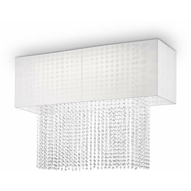 Weiße Kristall Deckenleuchte PHOENIX 5 Glühbirnen
