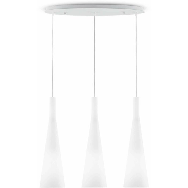 01-ideal Lux - Weiße MILCH Pendelleuchte 3 Glühbirnen