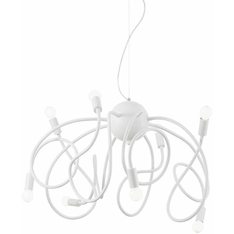 01-ideal Lux - Weiße MULTIFLEX Pendelleuchte 8 Glühbirnen