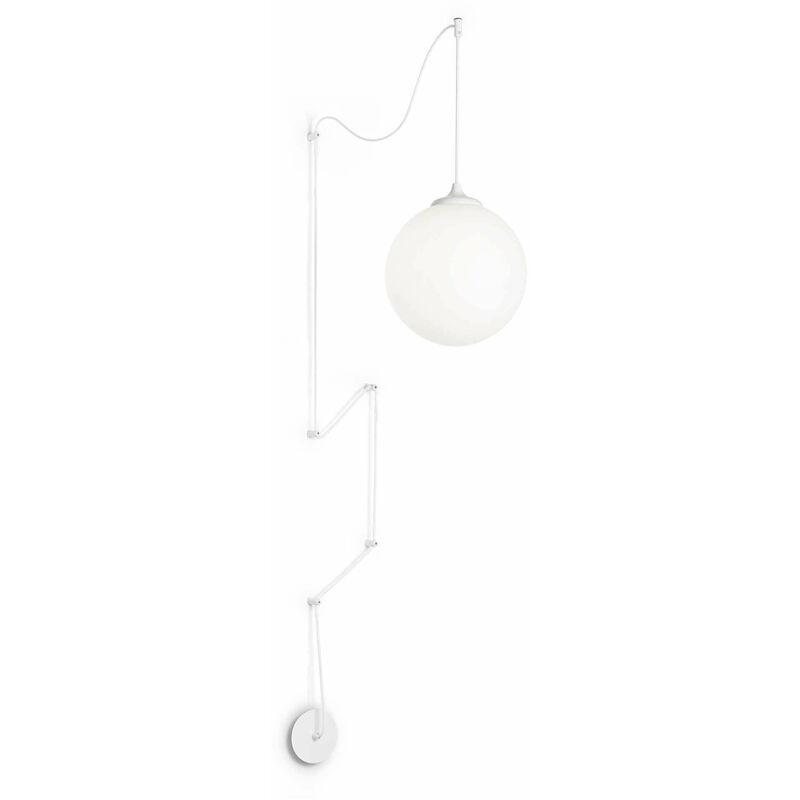 01-ideal Lux - Weiße Pendelleuchte BOA 1 Glühbirne