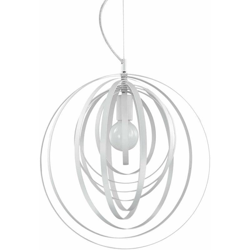 Weiße Pendelleuchte DISCO 1 Glühbirne