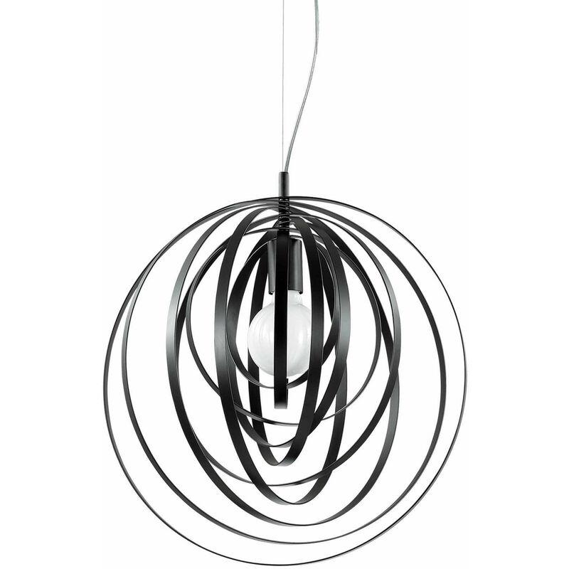 01-ideal Lux - Schwarze Pendelleuchte DISCO 1 Glühbirne