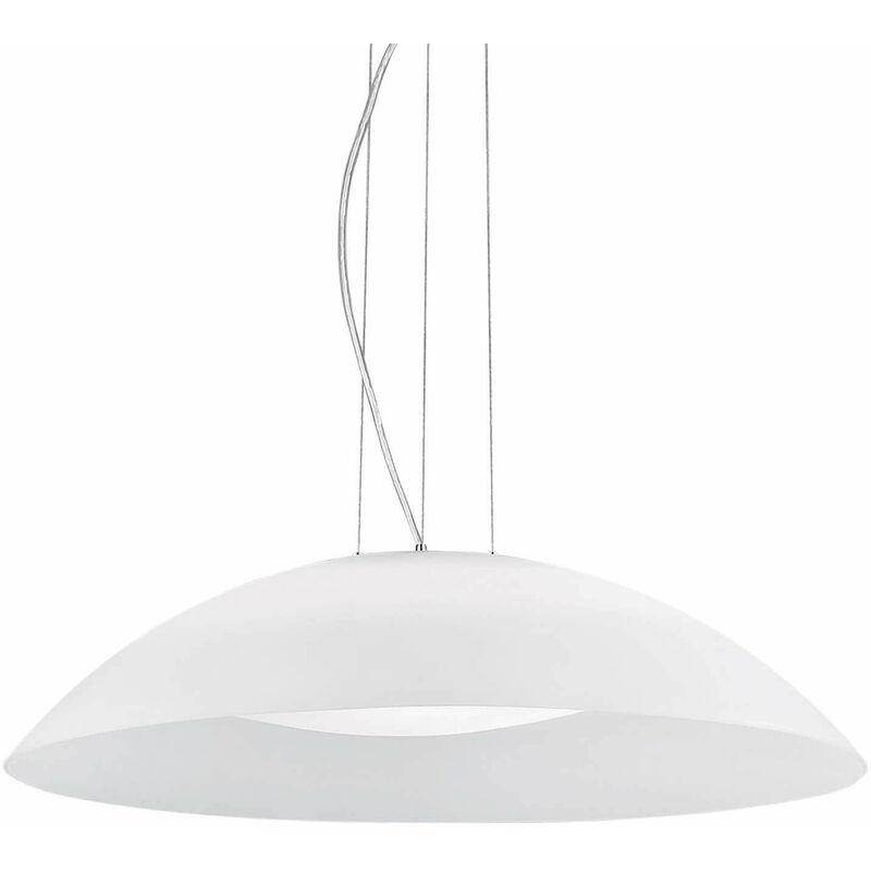 01-ideal Lux - Weiße Pendelleuchte LENA 3 Lampen Breite 11 cm