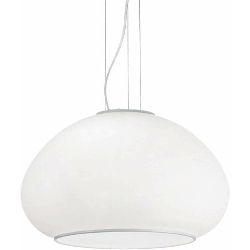 01-ideal Lux - Weiße Pendelleuchte MAMA 1 Glühbirne