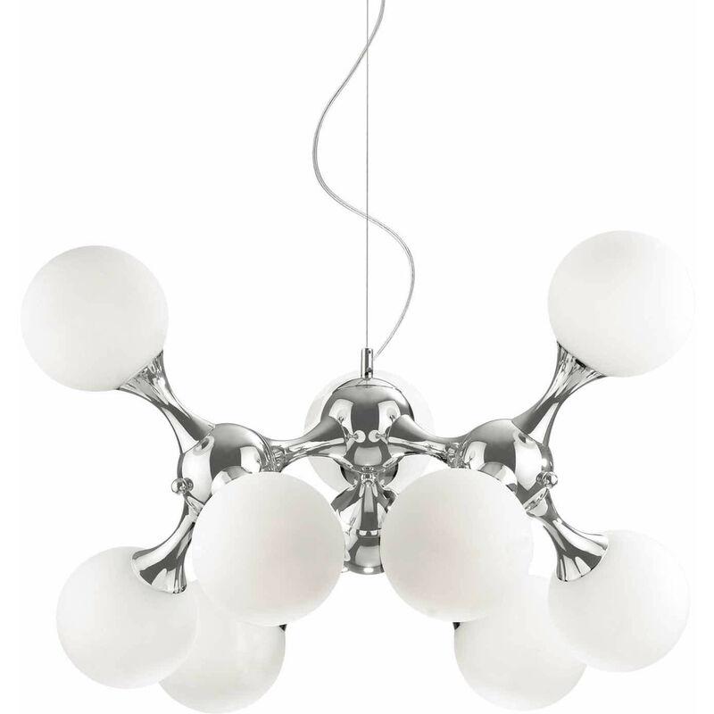 01-ideal Lux - Weiße Pendelleuchte NODI BIANCO 9 Glühbirnen