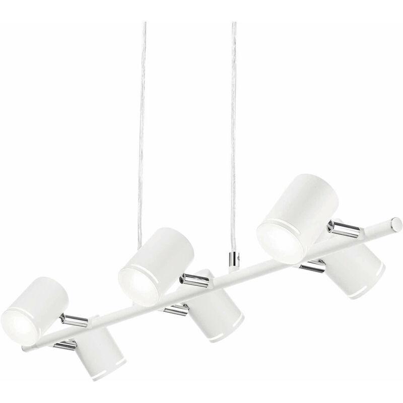 01-ideal Lux - Weiße Pendelleuchte SCHÜSSE 6 Glühbirnen