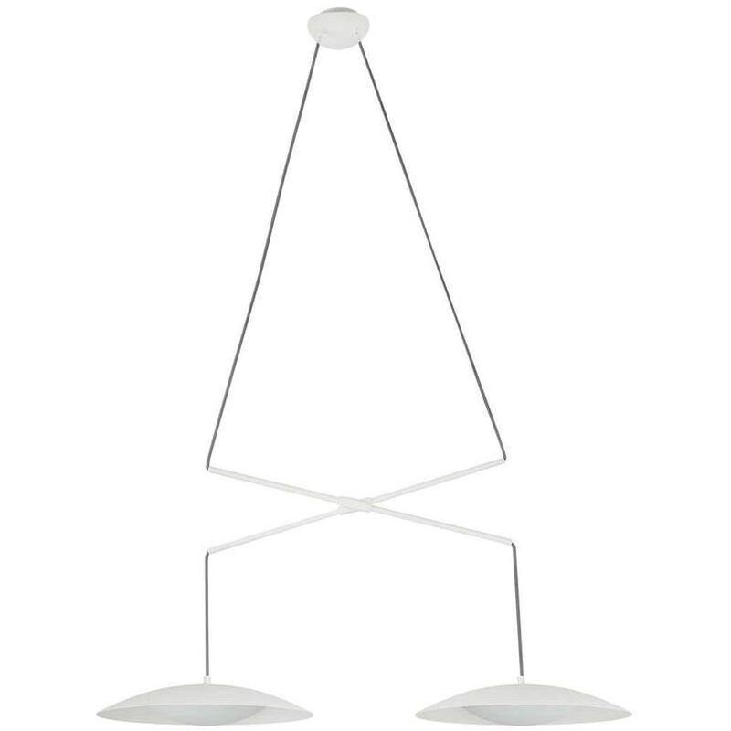 LED Pendelleuchte Slim aus Metall in Weiß 2-flammig