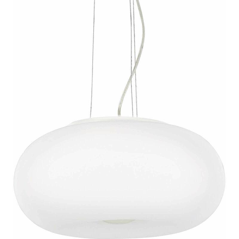 01-ideal Lux - Weiße Pendelleuchte ULISSE 3 Lampen Durchmesser 52 cm