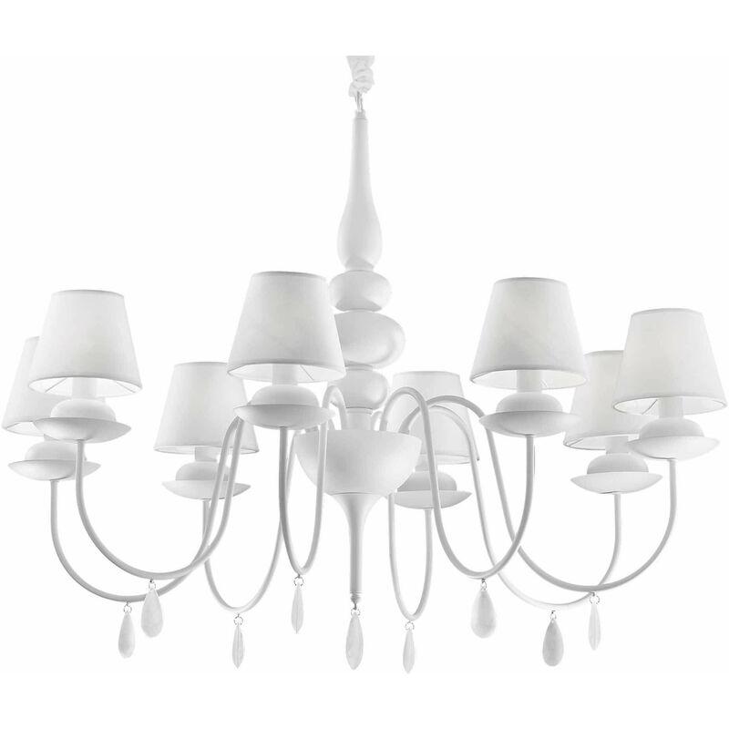 WEISSE weiße Pendelleuchte 8 Glühbirnen - 01-IDEAL LUX