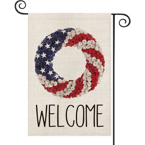 Welcome Patriotic Strip and Star Wreath Garden Flag Double Sided, 4th of July Memorial Day Independence Day Yard Outdoor Decoration 12.5 x 18 Inch