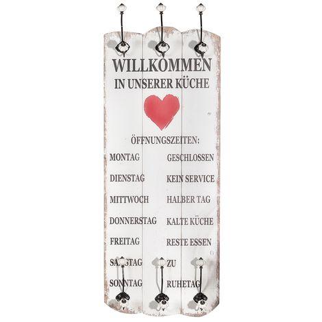 Welcome wardrobe 100x40 + 6 hooks wood wall wardrobe suspension Shabby White