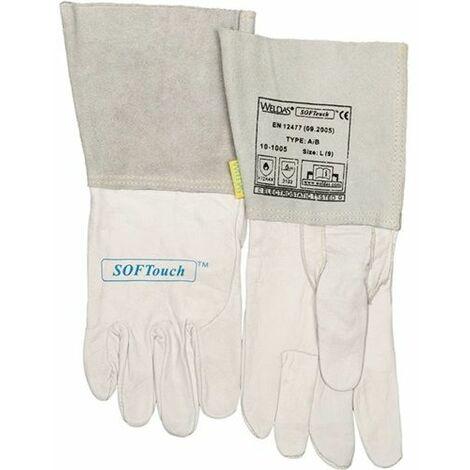 WELDAS Schweißerhandschuh 10-1005 Kalbsnarbenleder/ Rinderspaltleder Größe: L(9) grau/weiß EN388 EN407 EN12477