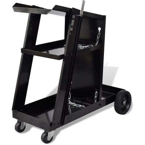 Welding Cart Black Trolley with 3 Shelves Workshop Organiser