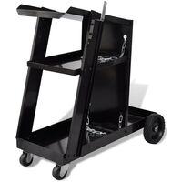 Welding Cart Black Trolley with 3 Shelves Workshop Organiser
