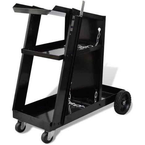 Welding Cart Black Trolley with 3 Shelves Workshop Organiser VD03776