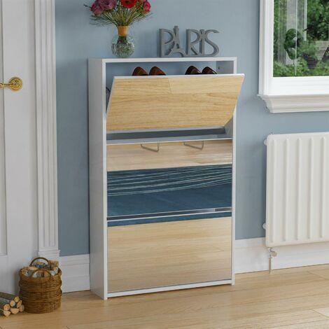 """main image of """"Welham 3 Drawer Mirrored Shoe Cabinet, White"""""""