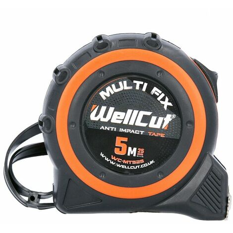 Wellcut 5M/16ft Pocket Tape Measure With Magnetic Hook, Anti-Impact 25mm Wide