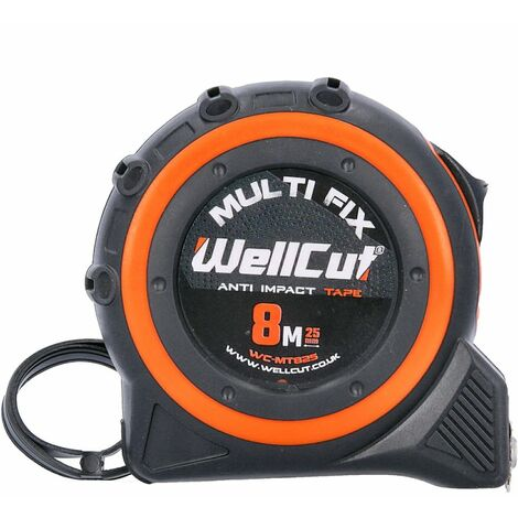 Wellcut 8M/26ft Pocket Tape Measure With Magnetic Hook, Anti-Impact 25mm Wide