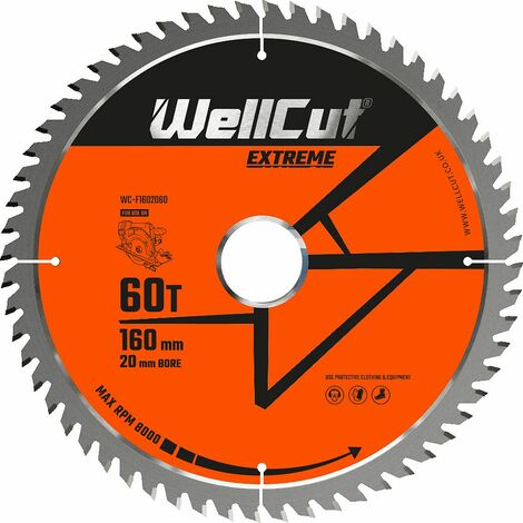 WellCut Extreme TCT Saw Blade 160mm x 60T x 20mm Bore Suitable For Festool - TS55