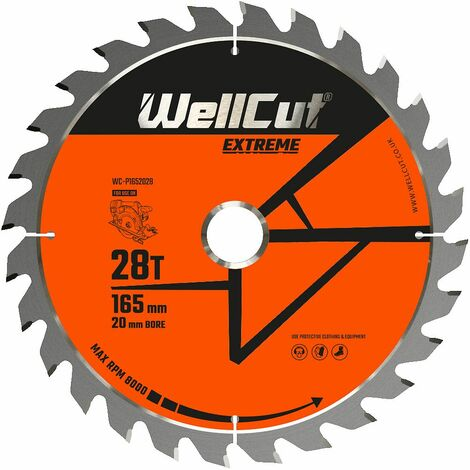 WellCut Extreme TCT Saw Blade 165mm x 28T x 20mm Bore Suitable For SP6000, DSP600, DWS520, GKT55
