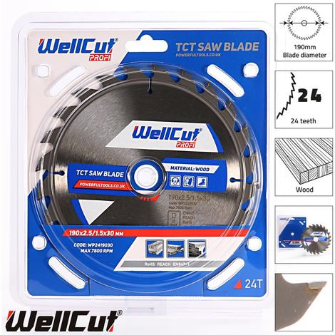 WellCut TCT Saw Blade Profi 190mm x 24T x 30mm Bore Suitable For DWE576, HS7601J, C7U2, GKS190