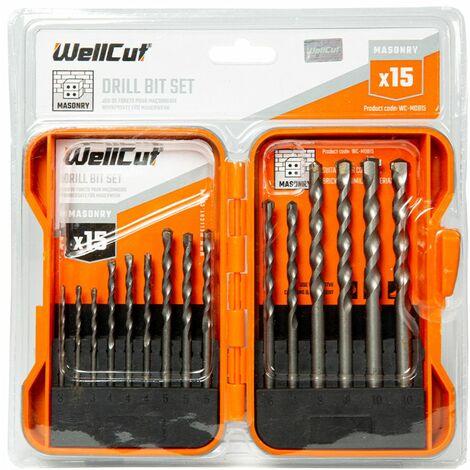 WellCut WC-MDB15 3-10mm MASONRY Drill Bit Set with 15 Pieces