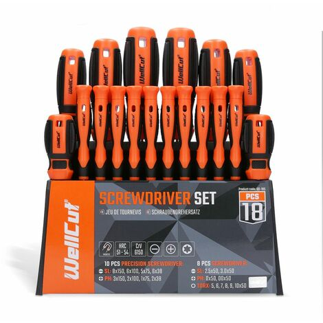 WellCut WC-SD18S Wall Mounted Screwdriver Set with 18 Pieces