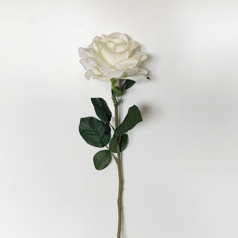 WELLHOME Rose artificielle en blanc 69 cm Ø11