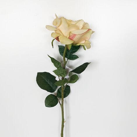 WELLHOME Rose artificielle en jaune 69 cm Ø11