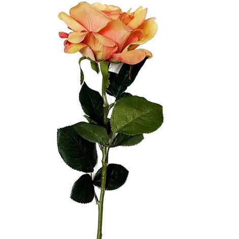 WELLHOME Rose artificielle en orange 69 cm Ø11