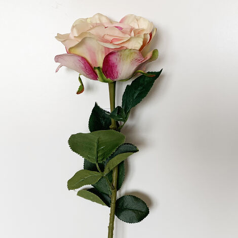 WELLHOME Rose artificielle en rose 69 cm Ø11