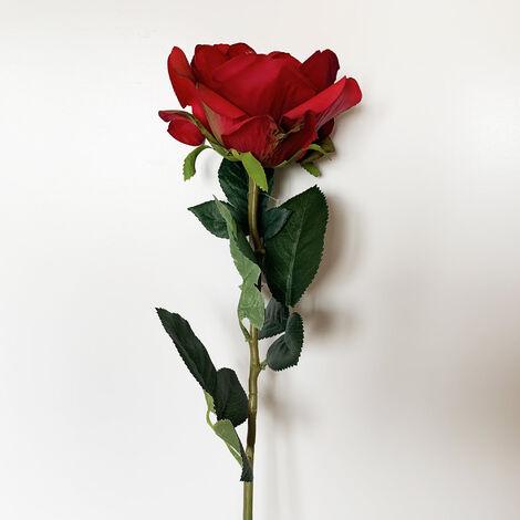 WELLHOME Rose artificielle en rouge 69 cm Ø11